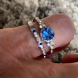 Silver tone blue stone rings